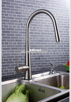 Wholesale single handle pull down spray kitchen sink faucet mixer tap in brushed nickel
