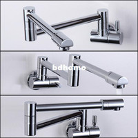 Wholesale Folding Copper Sink Chrome Wall Mount Kitchen Faucet Kitchen Wall Tap Kitchen Single Cold Taps torneira Kitchen cozinha cocina