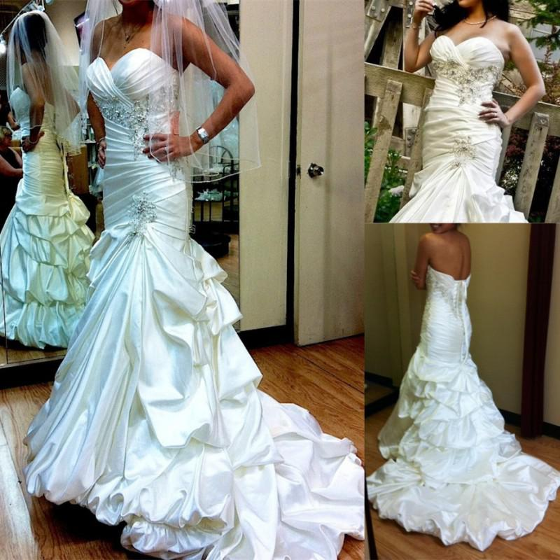 2014 new glamorous wedding dresses with sweetheart ruffles for Sweetheart neckline wedding dress with bling