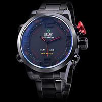 Wholesale Men s LED Analog Digital Multi Functional Black Dial Steel Band Wrist Watch Men Sports Watch