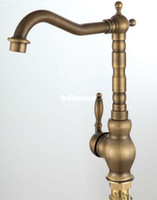 Wholesale High Quality Luxury Two Spunts Faucet Mixer Tap Antique Brass Totally Copper Single Hole Kitchen Sink Bathroom Basin