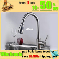 Wholesale Kitchen pull out sink basin mixer tap swivel function brushed nickel brass Faucet KF042