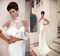 Cheap Sweetheart Sheath Sweep-train Lace 2014 Wedding Dresses with High Neck Shawl Vintage Berta Bridal Gowns