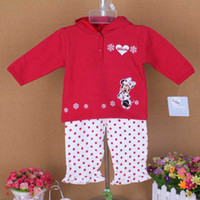 Cheap Free Shipping 2014 Baby Outfits Minnie Mouse 3 6M 6 9M Infant Girls Toddlers 2Piece Suits Set Long Sleeve Hooded Shirt & Polka Dots Pants