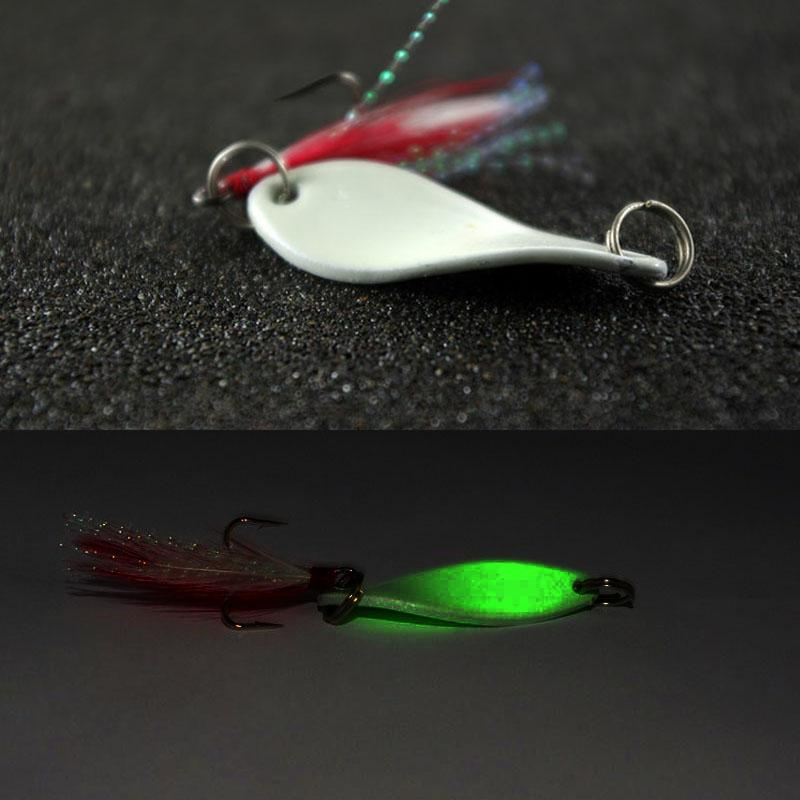 Super twisted willow leaf lure spinner bait 5 10g luminous for Best night fishing lures