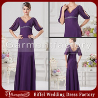 Wholesale 2014 Mother of the Bride Dresses V Neck A line Floor Length Half Sleeve Purple Chiffon Mother s Beach Dress
