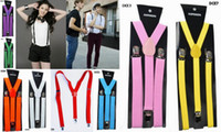 Wholesale Youth Men Women Suspenders Candy Color Stretchy Braces Back Cloth Strap DCE