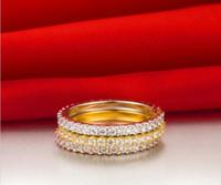 al por mayor 18k anillo de diamantes de oro sólido-La plata sólida PT950 del oro blanco 18K selló el anillo de diamante sintético romántico para el anillo del envío de la gota del anillo de la promesa del compromiso de la venda de boda de las mujeres