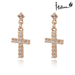 New Arrival Cross Dangle Earrings With Swarovski Crystal Stellux 18K Rose Gold Plated Top Quality Gift Jewelry #RG20309