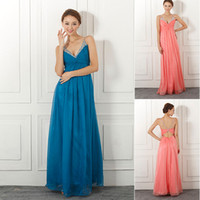 Wholesale New In Stock Colorful Pageant Dresses With Spaghetti Beads Backless A Line Floor Length Chiffon Coral Blue Prom Party Evening Gowns