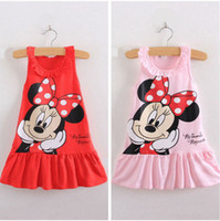 Wholesale new summer girl dress children clothing minnie mouse leisure kids dresses