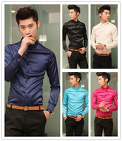 Black Silk Polo Men's Autumn Business Casual Slim Shirt Mercerized Cotton Long Sleeve Shirt Silk Texture Free shipping
