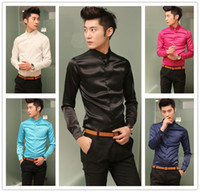 Black Silk Polo 2014 Fashion Men's Mercerized Cotton Business Casual Slim Shirt Long Sleeve Shirt Silk Texture Free shipping