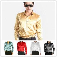 Mixed Color Satin Polo 2014 Fashion Groom Shirts Men's Shirt Solid Color Gold Imitation Silk Satin Long-sleeved Shirt Free shipping