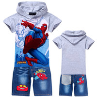 Wholesale children clothing sets boys short sleeve hoodies jeans pants boy cartoon Spiderman Children outfits suits sets