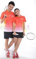 Wholesale free ship high quality VS men women badminton clothes badminton jersey badminton sportswear shirt shorts orange