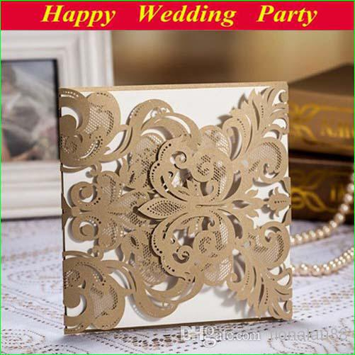 High Class Wedding Invitation Card Laser-cut Flower Brown ...