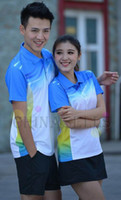 Wholesale new high quality VS men women badminton clothes badminton jersey badminton sportswear shirt shorts blue