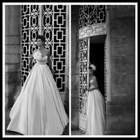 Wholesale Elegant Berta Sweetheart Sleeveless Ball Gown Princess Empire Waist Wedding Dresses Ivory Satin Floor Length Bridal Gowns Zipper