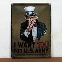 army pubs - 15 cm Uncle Sam I WANT YOU FOR US ARMY Tin Sign Metal Painting Retro Poster Bar Pub Decor