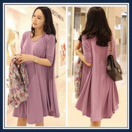 Wholesale Fashion maternity T shirt dress summer spring autumn wear clothes for Pregnant women long sleeves one piece skirt purple