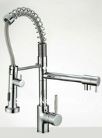 Wholesale NEM Luxury Double Handle Polished Surface Chrome Deck Mount Water Power Spout Swivel Kitchen Sink Faucet Pull Out
