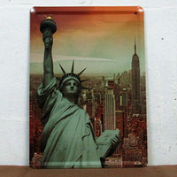 metal plaque - 15 cm New York Statue of Liberty Tin Sign Retro Poster Metal Painting Home Decor Bar Pub Plaques