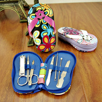 Wholesale 7 in Stainless Steel Manicure Pedicure Ear pick Slippers cartoon nail tools shoes Lovely flower shaped box set