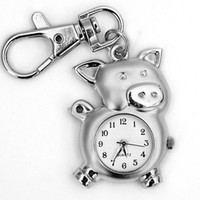 Cheap 1PC Sliver Lovely Pig Shape Clock Man Women Ladies Boys Girls Unisex Quartz Pocket Key Chain Ring Watch, Free & Drop Shipping