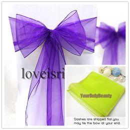 Wholesale 8 quot cm W x quot cm L Purple Color Sheer Organza Chair Sash Wedding Banquet Bow Chair Cover Sash Party Bridal Decor