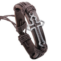 Wholesale Fashion Bracelets Leather Bracelets Wrap Women Bracelets Alloy Cross Diameter CM adjustable size