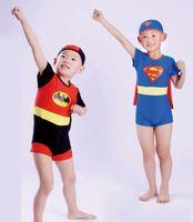Boy One-piece 4T-5T New Arrival Hot Kids Swimwear Cute swimsuit Small Superman swimming trunks boy swimsuit children swimming wear with cap wraps