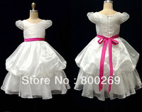 Cheap 2014 New Arrival Pleat Ruffles Sash Bow Ball gown Made in China Flower Girl Dress HT18