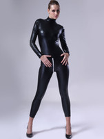 Wholesale Black Women Shiny Metallic Catsuit latex r95 u10 bA8