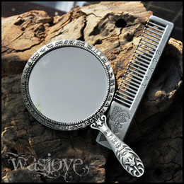 Wholesale Classical ancient Egypt Euro style Tin alloy Women Mini Beauty Make up Cosmetic Mirror comb Gift box