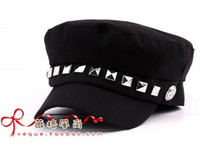 Wholesale Vivi magazine autumn and winter Unisex Navy Captain Sailor Cap Rivet Style Fashion Stylish Hat