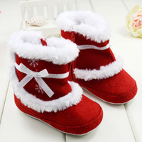 Girl Winter Cotton Warm furry baby girls boots with snowflake Rubber sold baby shoes Winter new arrival