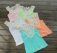 Wholesale EMS Fedex DHL Ship Summer New Baby Vest Girl T shirt T short Back Hollow carved Lace Pink Blue White Girls Lace Tank Tops T Melee