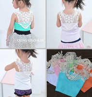 Wholesale EMS Fedex DHL Ship Summer New Baby Vest Girl T shirt T short Back Hollow carved Lace Pink Blue White Girls Lace Tank Tops Size T Melee