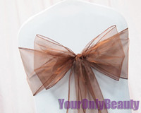Wholesale quot cm W x quot cm L Brown Sheer Organza Chair Sash Wedding Banquet Bow Chair Cover Sash Party Bridal Decor