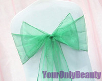 Wholesale quot cm W x quot cm L GREEN Sheer Organza Chair Sash Wedding Banquet Bow Chair Cover Sash Party Bridal Decor