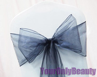 "Wedding Organza Fabric There are Many Colors in our Store Free Shipping-100pcs 8""(20cm)W x 108""(275cm)L Navy Blue Sheer Organza Chair Sash Wedding Banquet Bow,Chair Cover Sash Party Bridal Decor"
