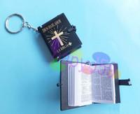 Wholesale 1pcs free ship new English Christian Gospel Christmas gifts crafts mini bible keychain God day school supplies prizes key ring