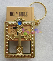 Wholesale free ship English silver gold frame Christian Gospel Christmas gifts crafts mini bible keychain God day school supplies prizes key ring