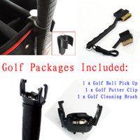 Wholesale Retail Brand NEW Golf Ball Pick Up Golf Putter Clip Golf Cleaning Brush in set