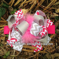 Wholesale of Boutique Oem Hair Bow with hair clips CHEVRON RIBBON hair accessory ribbon bows seller Fast Shipping
