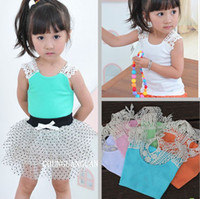 t back - EMS Summer New Baby Vest Girl T shirt T short Back Hollow carved Lace Pink Blue White Girls Lace Tank Tops T Melee