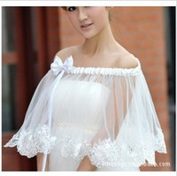 Wholesale 2014 New Style Bridal Tulle Organza Lace Sleeveless Beigo Wrap Cape Shawl Jackets coat wrap tippet Jacket Bridal Accessory