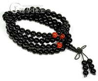Stone Fashion Bracelets Natural black tourmaline red agate 108 beads bracelet