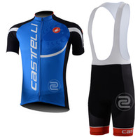 Wholesale outdoor sportwear men s castelli blue skinsui cycling jersey bib shorts cycling kit castelli team cycle clothing sets
